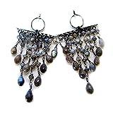 Echt Labradorit Ohrring für Frauen Natur 925Sterling Silber Cluster Fashion Jewelry lang Haken Form