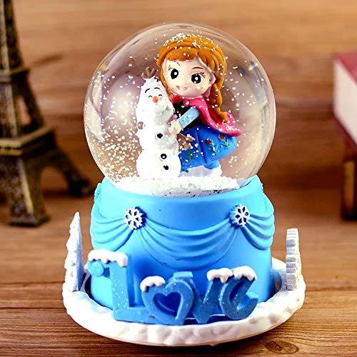 SKP Schneekugel Mit Musik ELSA - Frozen, Musikalische Schneekugel Spieluhr Für Mädchen Oder Kindergeschenk (A)
