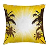 Apartment Decor Throw Pillow Cushion Cover, Holiday Theme A Sunny Tropical Place with Palm Trees Illustration, Decorative Square Accent Pillow Case, 18 X 18 Inches, Yellow And White