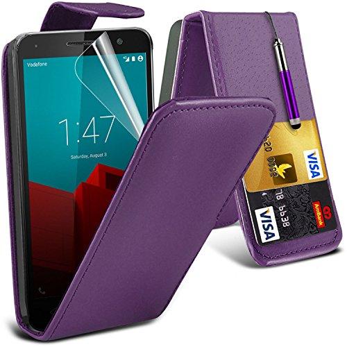 Spyrox ( Black ) Vodafone Smart Prime 6 Hülle Abdeckung Cover Case schutzhülle Tasche Stylish Fitted Tough Survivor Fest Rugged Shock Proof Heavy Duty Case W / Back-Stand, LCD-Display Schutzfolie, Pol Leather Flip + Stylus ( Purple )