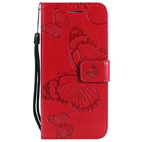 Hancda Coque pour Huawei P9 Lite 2016 [Pas pour P9], Housse Coque Flip Case Cuir Porte Carte Magnétique Portefeuille Cover Etui Support Antichoc Coque Case pour Huawei P9 Lite,Rouge