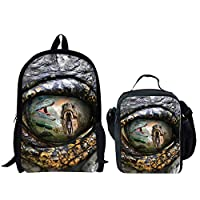 HUGS IDEA 2 Piece Boys School Backpack Cool Bookbag with Insuleted Lunch Bag (Dinosaure Eye Pattern)