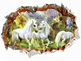Image 3D Sticker mural Licorne???Pferd Horse For?t Enchant?e Fantasy Licornes???Perc?e mural de sticker4u murale Autocollants Chambre Salon Papier peint photo pour porte d?co cuisine fille Gross