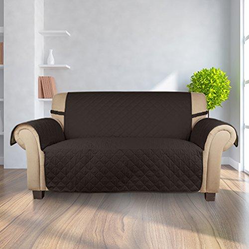 Kinlo copripoltrona 2-posti fodera per divano 167 x 112 cm copridivano imbottito copertura trapuntato per gli animali domestici protezione anti-graffio antifouling - marrone