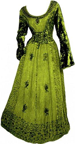 Dark Dreams Gothic Mittelalter LARP Kleid mit Samt bestickt Schnürung Freyja, Größe:freesize, Farbe:antikgrün