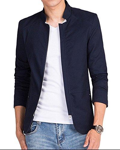 Homme Couleur Unie Stand Collier Veste A Manches Longues Slim Fermeture Eclair Veste Bleu foncé