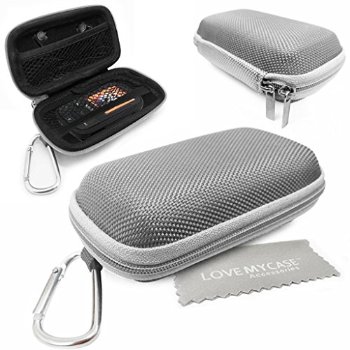 LOVE MY CASE / DURABLE Silver MP3 Player Case, Hard Clamshell Case,  Earphone Case, Holder with Carabiner Clip for SanDisk Sansa Clip Sport with  Love