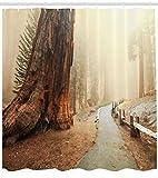 Abakuhaus Duschvorhang, Wald mit Riesigem Baum im Nebeligen Wald Waldland Spazieren Holz Zaun Digital Druck Braun, Wasser und Blickdicht aus Stoff mit 12 Ringen Schimmel Resistent, 175 X 200 cm
