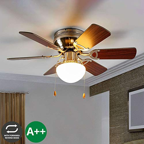 Lampenwelt Deckenventilator mit Lampe 'Flavio' (Modern) aus Holz u.a. für Wohnzimmer & Esszimmer (1 flammig, E27, A++) - Ventilator, Wohnzimmerlampe (Bad-leuchte Mit Ventilator)