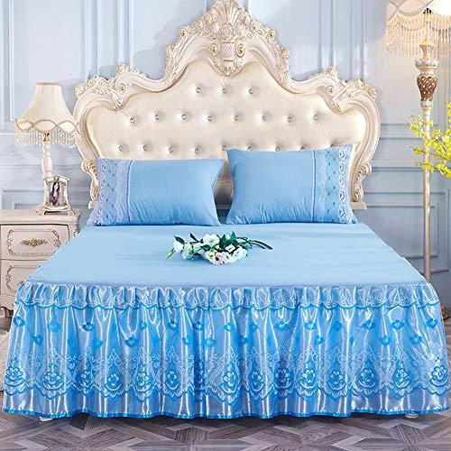 Spitze Bett Rock, Bett Volant Bestickt Tagesdecke Mit rüschen Hotel qualität Faltenresistent und ausbleichen beständig-blau 2 x Kissenbezug 48x74cm -