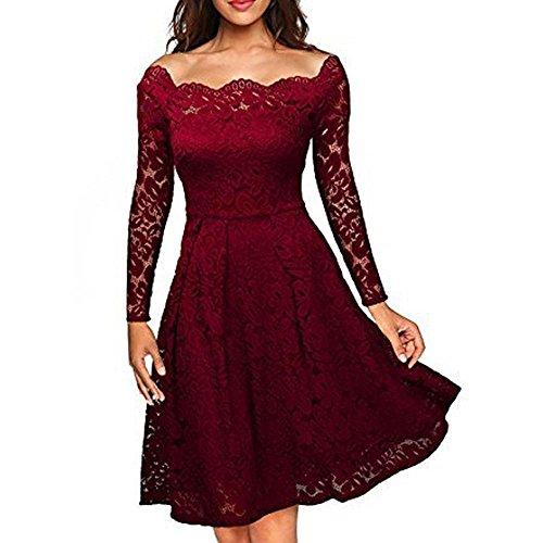 Dame Kleid Rock Elegant Feine Spitze Das Wort TräGerlosen Big Swing Middle In Den Rock Spandex, Wine red, s - Spitzen Rock Trägerlosen Brautkleid