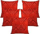 Car Vastra velvet floral red cushion cov...
