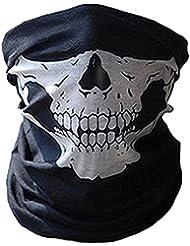 COMVIP Hombres Sin fisuras cráneo Impreso Las vendas abrigo de la bufanda del calentador del cuello de la máscara