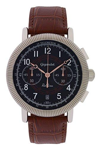 Gigandet Herren-Fliegeruhr Red Baron Sport Chronograph Quarz Datum Analog mit Lederarmband braun G19-003