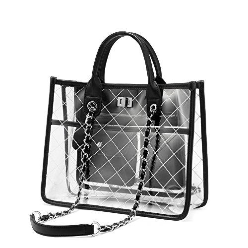 Strandtasche Shopper Durchsichtige Tasche Transparente Tasche Handtasche Damen Fashion Freizeit Reisen Schwarz
