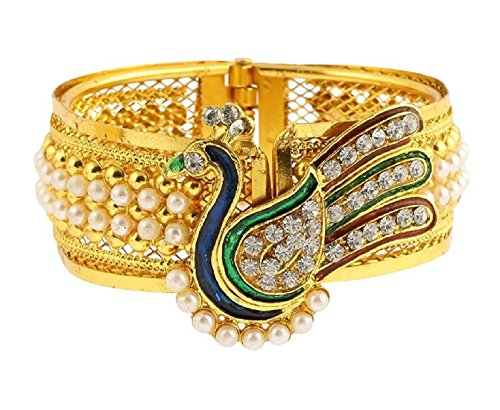 Aabhu Peacock Design Pearl Studded Antique Gold Plated Bangle Kada Bracelet Set Jewellery  available at amazon for Rs.239