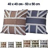Baumwolle Kissenhülle Englische Flagge 40x40 oder 50x50 cm mit Farbwahl (Beige, 40 x 40 cm)