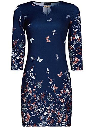 oodji Ultra Femme Robe Imprimée avec Décor en Métal Bleu (7959F)
