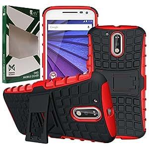 Moto G4 Plus Case, DMG Hybrid Kick Stand Back Cover Case for Motorola Moto G4 Plus / Moto G4 (Gen 4) (Red)