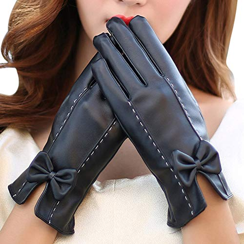 TEBAISE Damen Faux Leder Handschuhe Touchscreen Winter Warm Langes Handschuhe Luxury Ladies Weichen Faux Lederhandschuhe mit Bowknot-Stich-Entwurf - Piraten Lady Kleinkind Kostüm