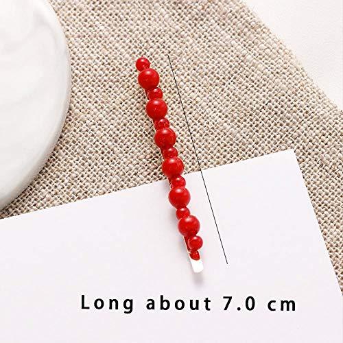 YOGER Haarband Lucky Red Pearl Full Cover Haarnadel Weibliche Süße Haarspange Haarnadel Haarnadel Clip Haarschmuck, Dark Grey Chiffon Full Slip