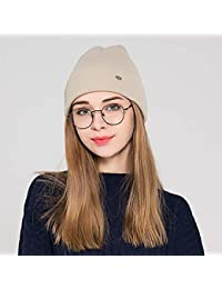ZXGJMZ Suave Cálido Sombrero de Punto Gorro de Invierno para Mujer Sombrero  Bonete Sombrero Liso Ocasional 176654debc6