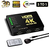 HDMI Switch 4K, FAERSI 5 Ports HDMI Switcher Splitter Support 4K@30Hz/2K/1080P/3D with IR