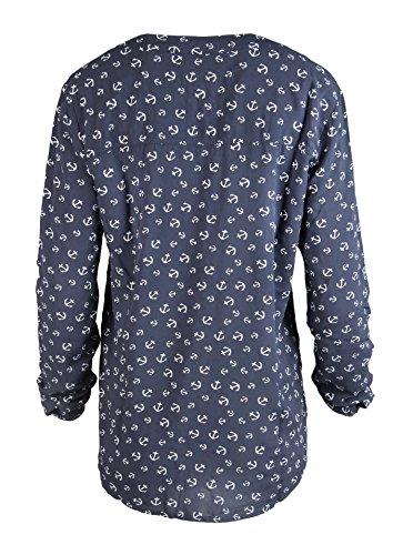 Zwillingsherz Bluse mit Anker Muster - Hochwertiges Oberteil für Damen Mädchen - Langarmshirt Top - T-Shirt - Pullover - Sweatshirt - Hemd für Sommer Herbst und Winter von Cashmere Dreams Navy