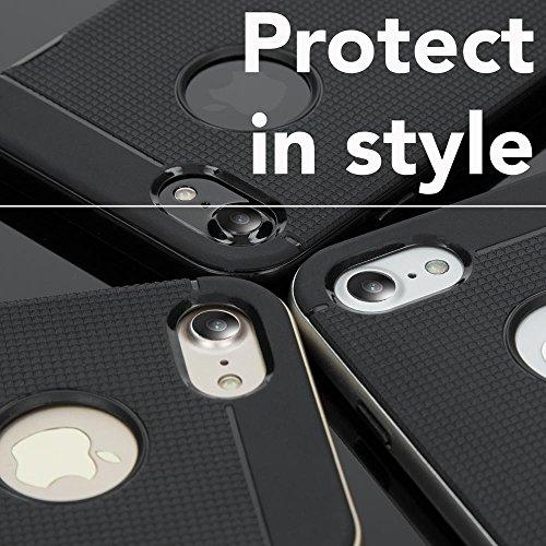 iPhone 8 / 7 Custodia di NICA, Ultra-Slim Sportivo Silicone Cover Protettiva Sottile con Bordi Effeto Metallo per Cellulare, Bumper Protezione Case per Telefono Apple iPhone-7 / 8 , Colore:Gold Oro Gold Oro