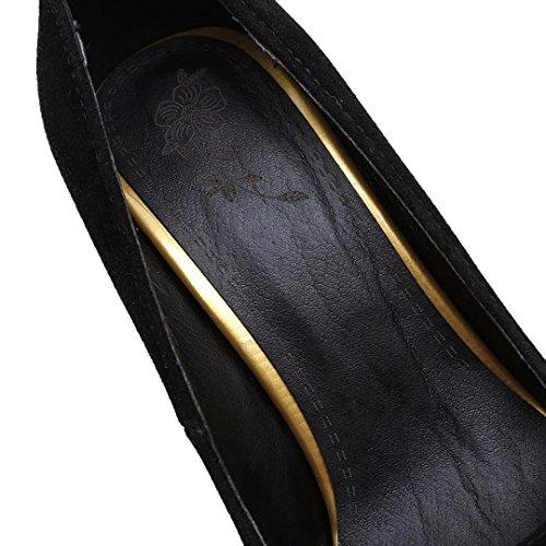 AIYOUMEI Damen Spitz Stiletto High Heels Pumps mit 10cm Absatz Elegant Bequem Schuhe Schwarz 1