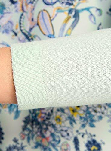 oodji Collection Damen Kombinierter Pullover mit Druck Grün (6580F)
