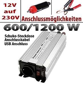 Spannungswandler Wechselrichter Stromwandler Konverter Power Inverter 12V zu 230V 600W Geräte unterwegs einfach aufladen! GOLIATH AV-INV600