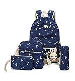 Canvas Backpack Shoulders School Bag for Teenager Girls Travel Daypack Handbag 4pcs Bag(Dark Blue)