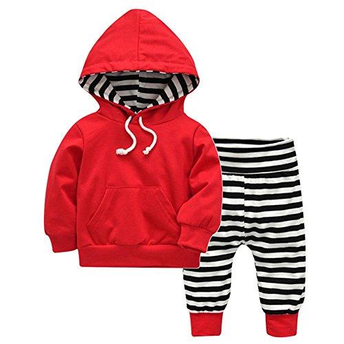 Domybest 2 stücke Herbst Unisex Baby Kleidung Set Kordelzug Tasche Hoodies + Pants (4-6 Mt) (Kleidung Stück Ein Herbst)