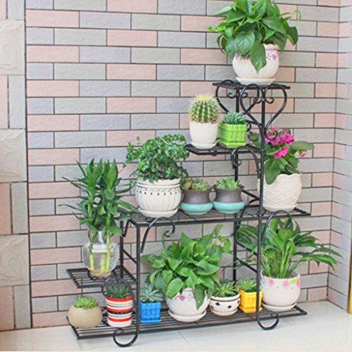 Zml stendibiancheria per interni ed esterni multistrato in ferro battuto salotto multifunzionale per balconi space flowerpot stand a terra per fiori verde