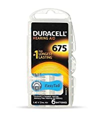 Duracell Easytab Hearing Aid Batteries Size 675, Pack of 30 (6 x 5), 1.45 V