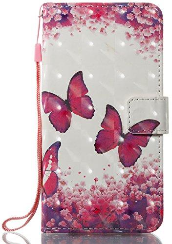 iPhone 10 iPhone X Hülle, Nnopbeclik Ultra Slim Fit, Kickstand, Card Slot, Anti-Rutsch Soft TPU Stoßfänger, Sonnenblumen Flip Leder PU Wallet Case für iPhone 10 iPhone X 5,8 Zoll Rosen Schmetterling