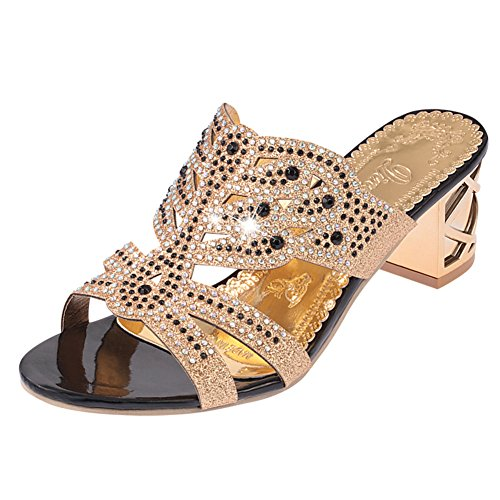 Europa e i sandali della signora/Strass elegante con pantofole chunky tacchi/pantofole aperte B