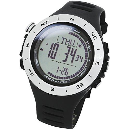[LAD WEATHER] Schweizer Sensor Höhenmesser Digitaler Kompass Wettervorhersage Entfernung/Geschwindigkeit/Schritt/Übungszeit/Kalorienverbrauch 100 Meter wasserdicht Sturmwarnung Weltzeit Herren uhr