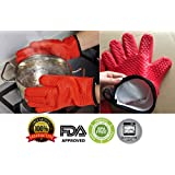 Silicone Kitchen Gloves [Fabric Lining / Inner Cotton Layer] Heat Resistant Silicone Gloves for Barbeque and Cooking Baking Barbeque Grilling Oven Mitts,BBQ Insulated Gloves BPA free by Sanskriti Premium Products
