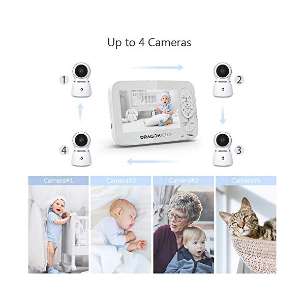 Baby Monitor, Dragon Touch 5 Inch 720P HD Video Baby Monitor with Remote Pan-Tilt-Zoom, Infrared Night Vision, 2-Way Audio, 5 Lullabies, and Temperature Monitoring Capability - Babycare Dragon Touch 720P HD display 3 times clarity than normal 480P display baby monitor. 5-inch large screen give you a better visual experience. The handheld viewing screen let you control the baby camera as you wishes. When the 70° glass lens is combined with the 340° horizontal and 90° vertical rotation range it creates a complete 360° coverage. High-quality built-in microphone and speaker give you the crystal clear two-way communication with your baby. 3