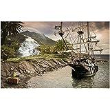 Fototapete Insel Piraten Schiff Wand Wandbild (2050ve), 254cm x 184cm (WxH)