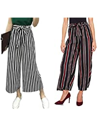 "Aglobi"" High Waisted Lounge Wide Lining Palazzo Pants Capris for Womens/Girls Pack of 2 (Black, Red-Lining) Free Size"