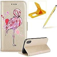 Mädchen Schönen Bling Glitzer Pink Flamingo Malerei Muster Hüllen Für iPhone X, Herzzer Rundum Schutz Schale PU... preisvergleich bei billige-tabletten.eu