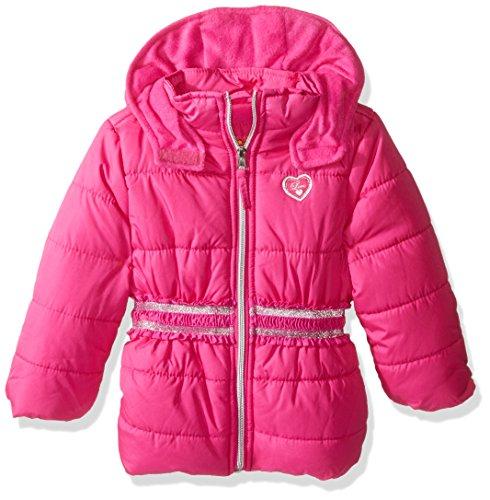 Pink Platinum Baby Girls' Infant Puffer Jacket with Novelty Trim At Waist, Bright Pink, 24 Months