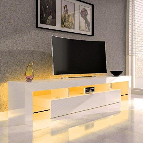 Sanzaro TV Lowboard Board Schrank Fernsehtisch HiFi Hochglanz LED Beleuchtung 188cm Weiss