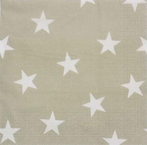 taupe beige blanc étoiles 3 épaisseurs 20 Papier Serviettes x 13 13 \