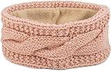 styleBREAKER Stirnband Grobstrick mit Zopfmuster und Pailletten, warmes Fleece Innenfutter, Haarband, Headband, Damen 04026002, Farbe:Rose