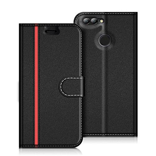 COODIO Huawei Nova 2 Hülle Leder Lederhülle Ledertasche Wallet Handyhülle Tasche Schutzhülle mit Magnetverschluss/Kartenfächer für Huawei Nova 2, Schwarz/Rot