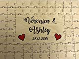 FSSS Ltd Personalised wooden coloured hearts wedding guest book jigsaw puzzle anniversary (56 pieces 400x300mm (16' x 12'))